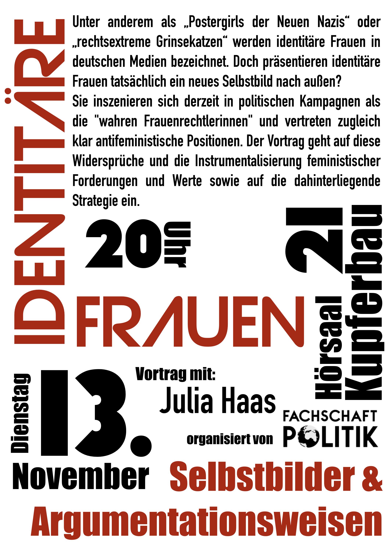 Vortrag Identitäre Frauen Von Julia Haas Fs Politik